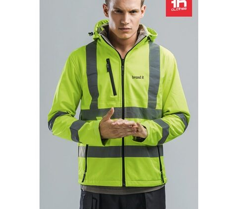THC ZAGREB WORK. High-visibility softshell jacket for men, with removable hood