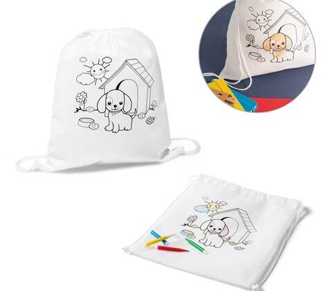 DRAWS. Kid's colouring drawstring bag